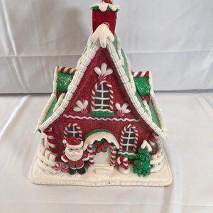 "10"" Illuminated Decorative Gingerbread House"